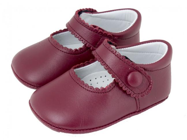 Babies bebe cuir bouton velcro